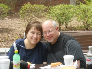 Enjoying an outdoor lunch during chemo